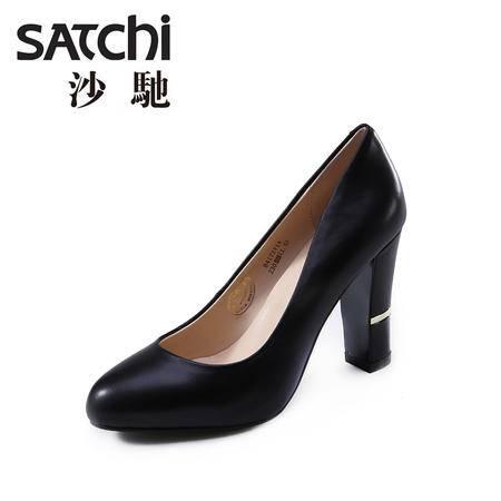 Satchi/沙驰2015简约职业黑色浅口真皮鞋高跟女单鞋粗跟女鞋