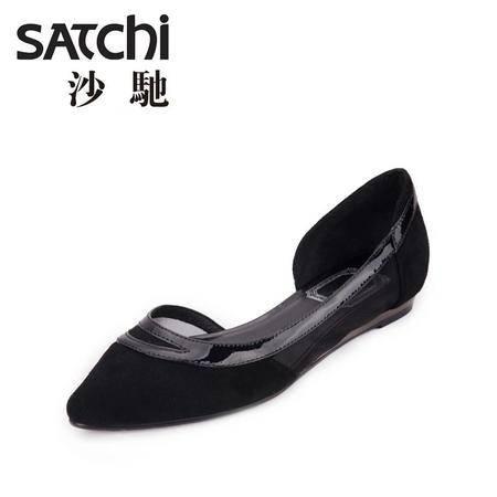 沙驰日常拼色缝制鞋低帮平跟2015新款英伦优雅真软面皮羊皮女鞋