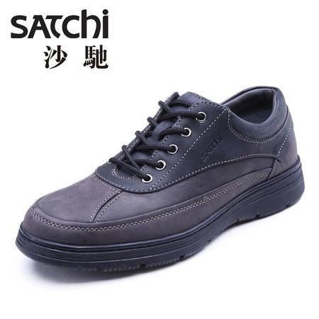 Satchi/沙驰2015秋季新款高科技男士皮鞋真皮 专利鞋防骨刺休闲鞋