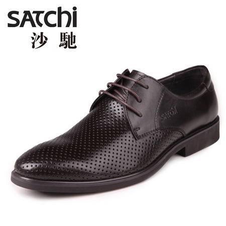 沙驰 男鞋 2015年夏季商务正装镂空皮鞋 系带低帮鞋男士皮鞋真皮