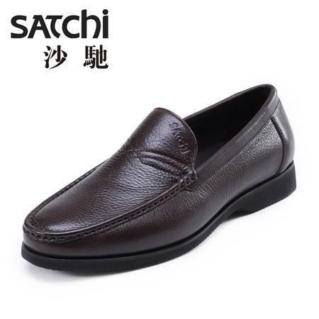 沙驰男鞋 2015新款时尚商务休闲鞋男 低帮套脚懒人鞋男士皮鞋真皮