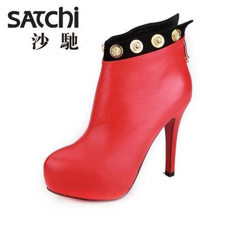 沙驰 2015春季新款欧美时尚超高跟10cm女鞋 真皮细跟软面短筒靴子