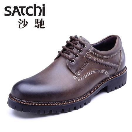 沙驰男鞋真皮大头鞋英伦工装鞋低帮大码行走鞋欧美休闲皮鞋马丁鞋