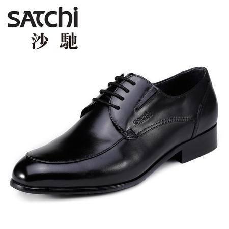 沙驰男鞋  时尚商务正装男士皮鞋真皮  低帮尖头鞋软面德比鞋男鞋
