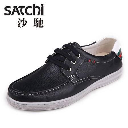 沙驰男鞋 2015年夏季时尚男士皮鞋真皮  低帮细带软面板鞋休闲鞋