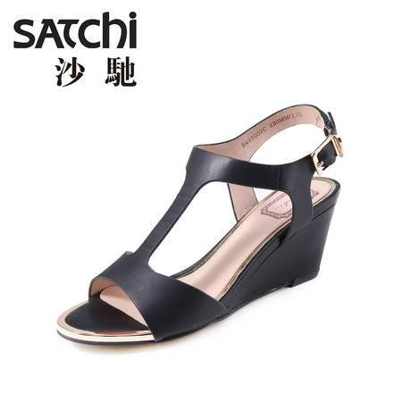 Satchi沙驰2015年夏季新款绑带坡跟真皮凉鞋