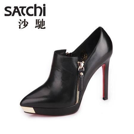 沙驰 2015春季新款欧美风尖头真皮女高跟鞋 软面细跟套脚女鞋拉链