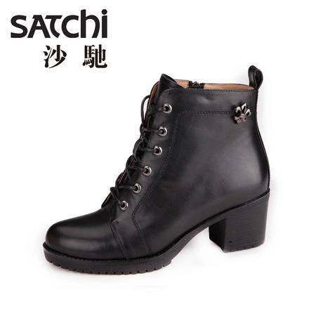 沙驰 2015春季新款女士时尚时装靴 系带短筒靴子 真皮粗跟女靴
