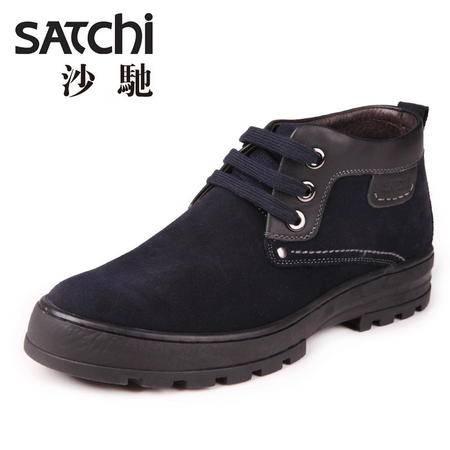 沙驰男鞋 时尚英伦风男士皮鞋真皮 系带高帮厚底增高男鞋休闲鞋