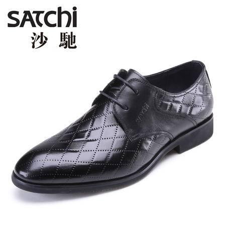 Satchi/沙驰秋季新款商务正装男士皮鞋真皮 系带圆头透气牛皮男鞋