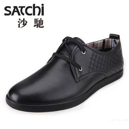 沙驰男鞋 英伦时尚日常平跟男士皮鞋真皮 系带低帮鞋板鞋休闲鞋