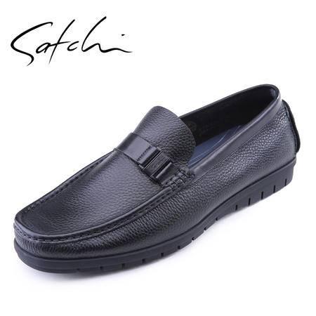 沙驰 2015夏款男士时尚休闲皮鞋 真皮商务男鞋耐磨 圆头套脚男鞋