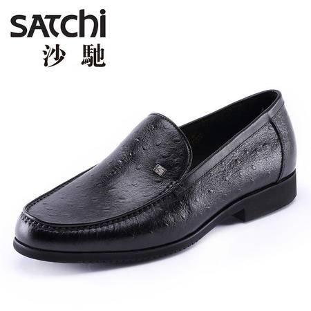 沙驰男鞋 2015夏季鸵鸟纹男士休闲皮鞋 英伦商务套脚软面皮鞋真皮