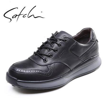 Satchi/沙驰男鞋2015秋季新款英伦厚底增高真皮超轻底系带休闲鞋