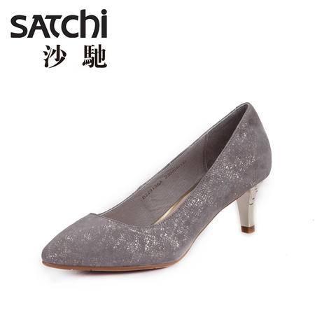 沙驰女鞋 2015年春季新款时尚尖头真皮高跟鞋羊皮浅口女鞋