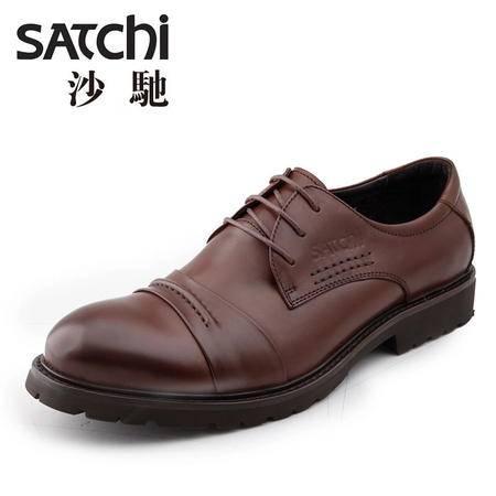 沙驰男鞋  英伦风商务正装男士皮鞋真皮 复古系带大头鞋工装男鞋