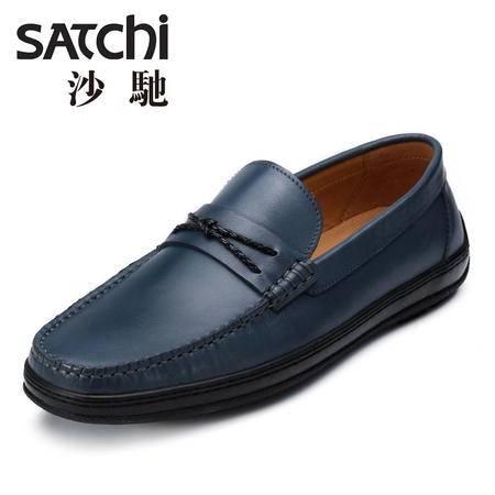 沙驰 男鞋  时尚商务正装男士皮鞋真皮 低帮套脚圆头懒人鞋男鞋
