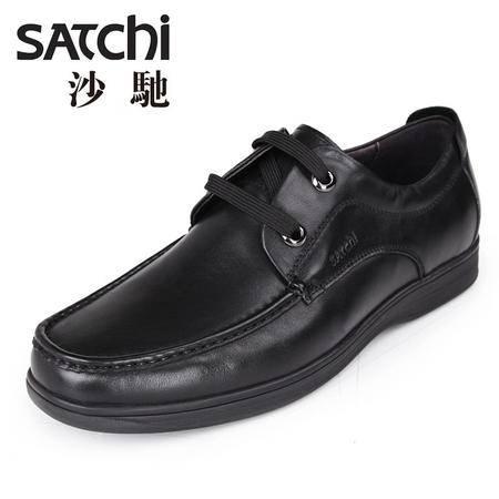 沙驰 男鞋  2015年方头时尚商务真皮休闲鞋男鞋 系带低帮软面皮鞋