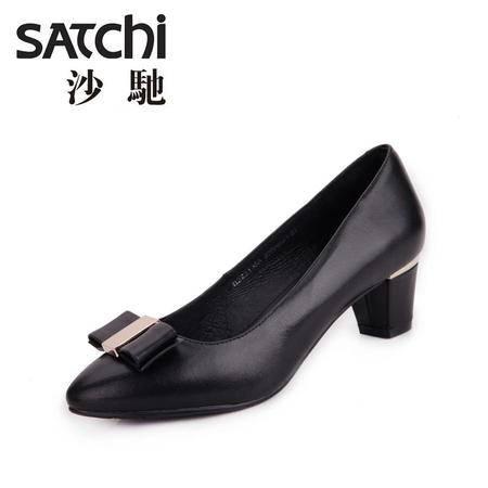 沙驰女鞋 2015新款英伦浅口正装真皮女鞋软面羊皮鞋