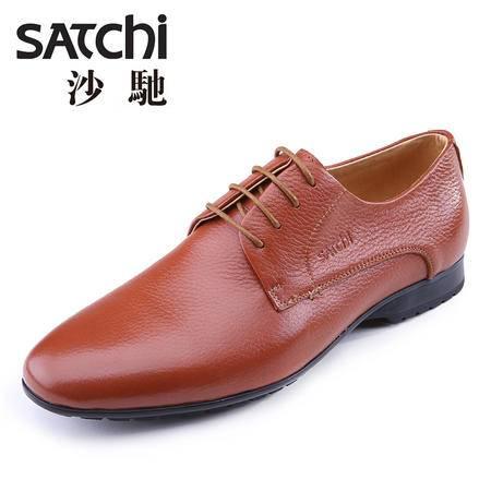 沙驰 男鞋 2015春季商务正装男士皮鞋真皮 低帮时尚英伦软面男鞋