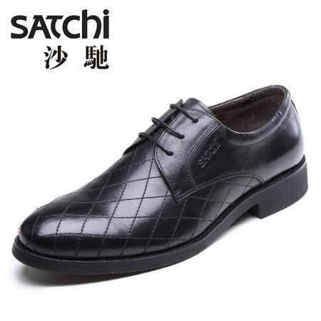 沙驰男鞋 英伦商务正装男士皮鞋 系带低帮平跟真皮德比鞋男鞋