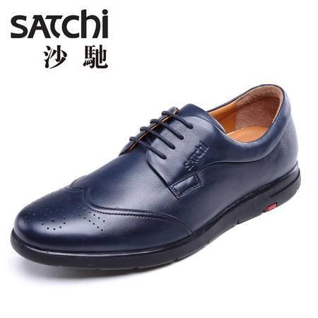 沙驰男鞋 2015新款时尚英伦风户外休闲皮鞋 系带低帮男士皮鞋真皮