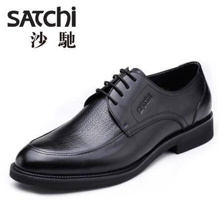沙驰男鞋2015夏季英伦时尚商务正装男鞋 系带真皮低帮男士皮鞋