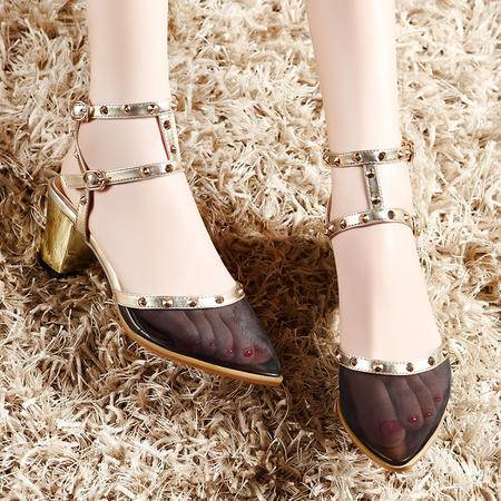 莫蕾蔻蕾2015夏季新品女凉鞋包头网纱尖头韩版潮中跟女鞋粗跟鞋