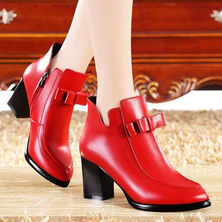 莫蕾蔻蕾2015冬季新品尖头女靴马丁靴女英伦高跟短靴粗跟靴子婚鞋