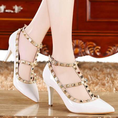 莫蕾蔻蕾2015新款性感细跟高跟鞋 个性时尚尖头单鞋柳钉女鞋婚鞋