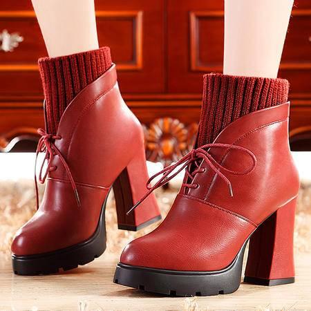 莫蕾蔻蕾新款冬季马丁靴女英伦女靴子高跟短靴女裸色短筒粗跟女鞋