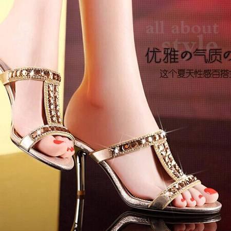 莫蕾蔻蕾2015新款甜美拖鞋高跟AAA级捷克钻细跟凉拖时尚水钻女鞋