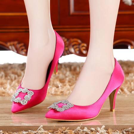 莫蕾蔻蕾2015新款欧洲站女鞋尖头单鞋细跟高跟鞋子甜美系红色婚鞋