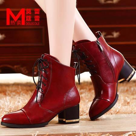莫蕾蔻蕾女鞋秋季新款短靴马丁靴英伦风尖头粗跟显瘦款女靴短筒靴