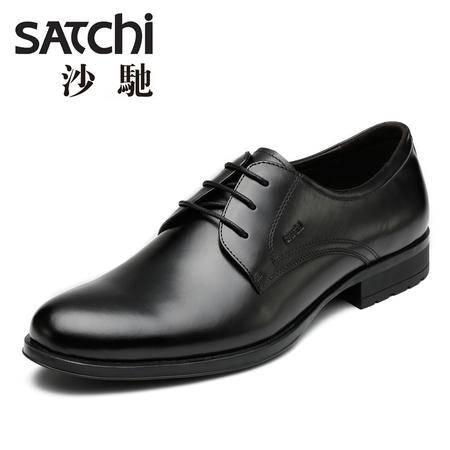 沙驰 男鞋 2015时尚英伦风商务正装德比鞋 系带圆头男士皮鞋真皮