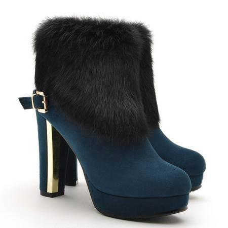 莫蕾蔻蕾2015冬季新款女靴兔毛流苏靴高跟鞋粗跟短靴英伦风时装靴