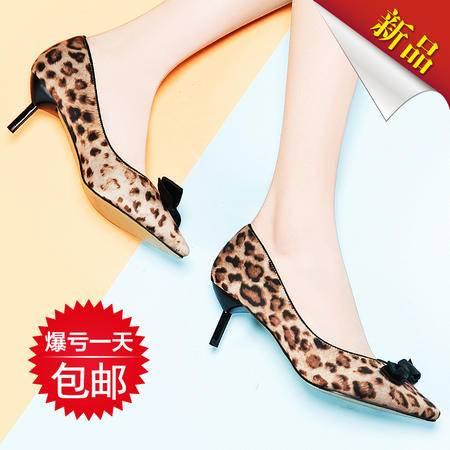 莱卡金顿春季女鞋新款时尚细跟浅口女单鞋豹纹欧美蝴蝶结时尚女鞋