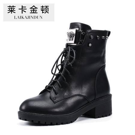 莱卡金顿 秋冬新款中跟马丁靴女绑带中筒女靴子粗跟女鞋短靴子