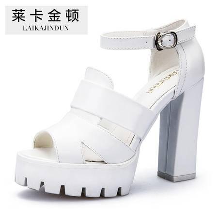 莱卡金顿夏季新款 凉鞋女高跟防水台欧美潮皮带搭扣鱼嘴粗跟女鞋