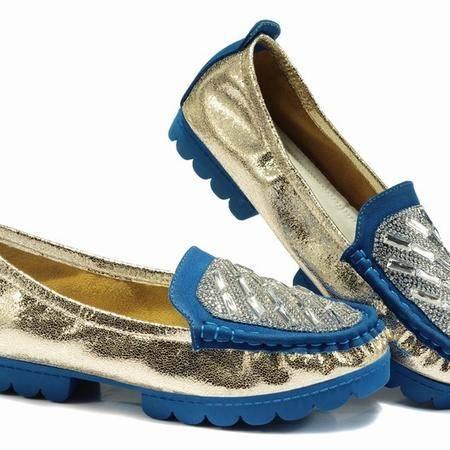 莱卡金顿正品春季新款水钻豆豆鞋女厚底平跟单鞋韩版潮鞋亮片女鞋