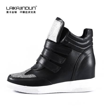 莱卡金顿2015秋季新款 魔术贴坡跟高帮鞋 内增高女鞋韩版潮休闲鞋