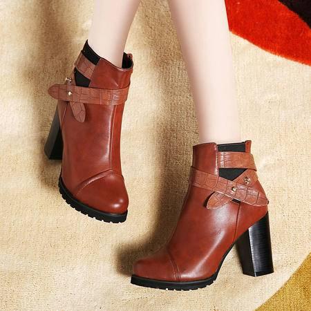 莱卡金顿正品秋冬新款高跟短靴女靴子粗跟马丁靴方根短筒休闲女鞋