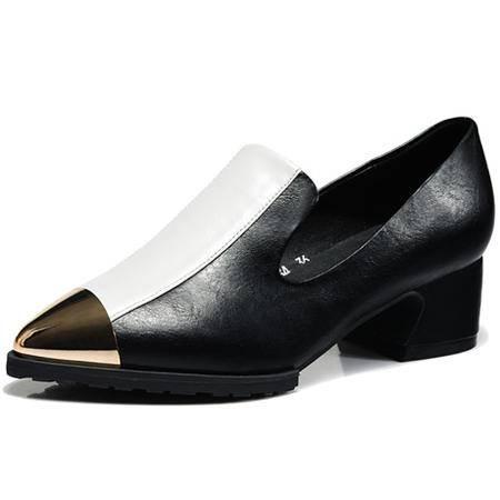莱卡金顿春季新款尖头中跟女单鞋浅口真皮尖头时尚欧美女鞋休闲