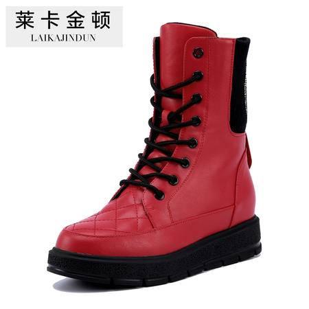莱卡金顿正品秋冬新款女鞋低跟系带马丁靴女厚底女靴子时尚短靴女