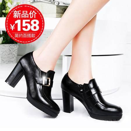 莱卡金顿秋季新款女鞋粗跟防水台时尚深口圆头高跟单鞋女英伦风潮