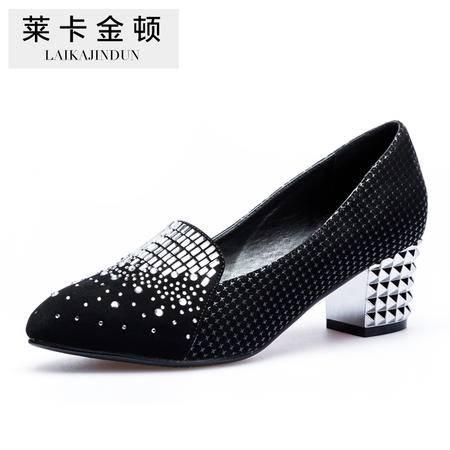 莱卡金顿2015新款 春季女鞋粗跟中跟水钻软面尖头浅口时尚女单鞋