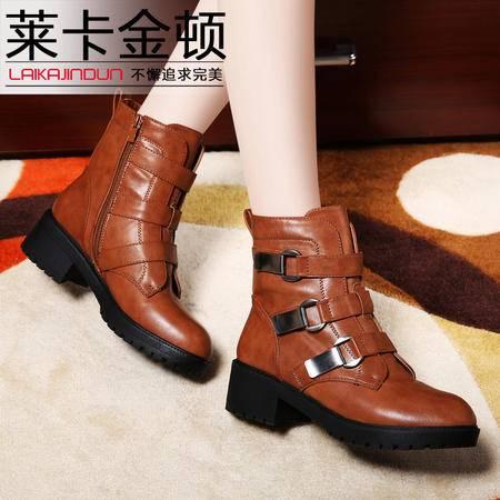 莱卡金顿正品秋冬新款女鞋低跟马丁靴女防水台女短靴子时尚女靴子