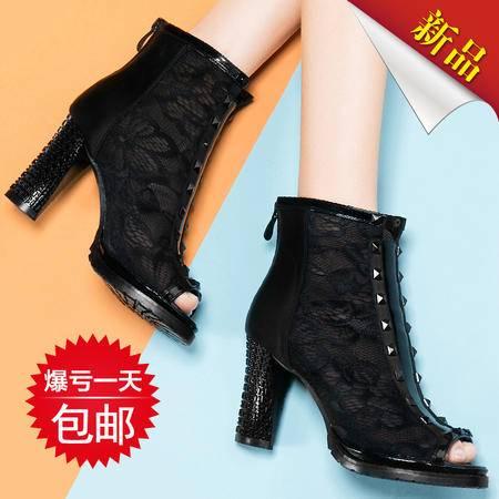 莱卡金顿2015新款春季女鞋锥形粗跟单鞋女时尚深口网纱鱼嘴高跟鞋