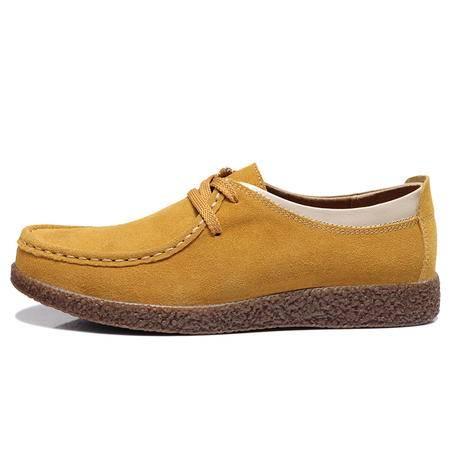 莱卡金顿 LK-A9652 平跟牛皮豆豆鞋 窝牛鞋单鞋真皮磨砂圆头女鞋