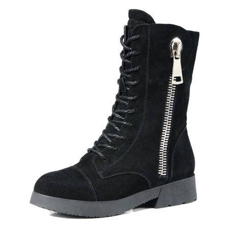 莱卡金顿牛皮中筒靴 英伦骑士靴软面平跟英伦风马丁靴